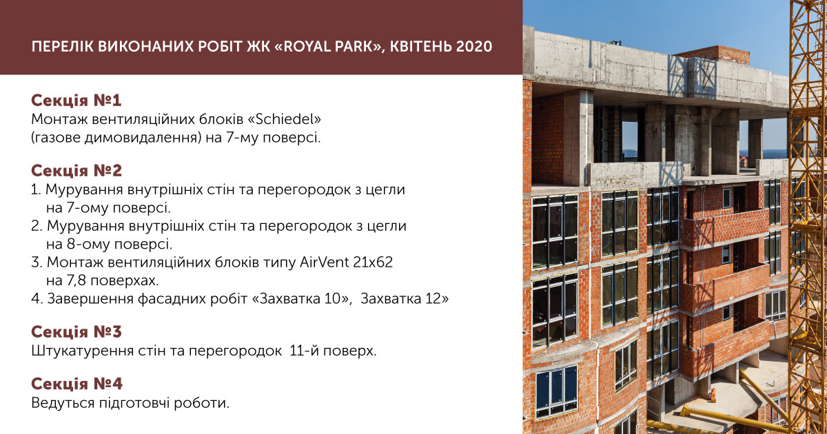 """Information on the progress of the RC """"Royal Park"""""""