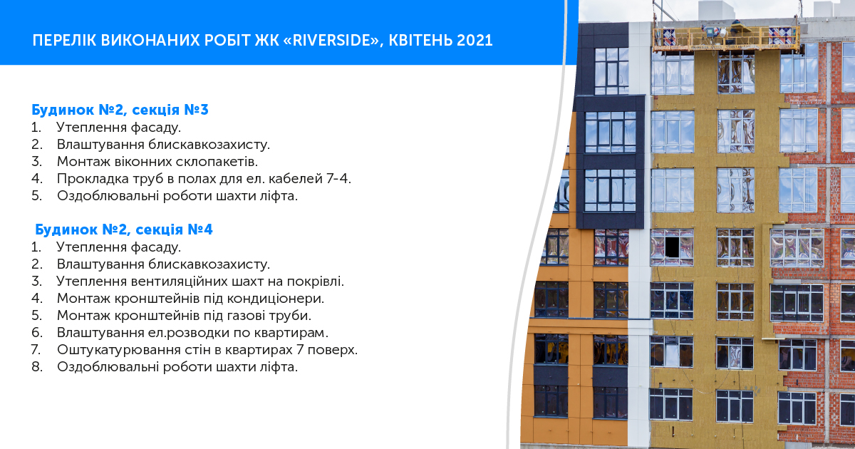 """Information on the progress of RC """"Riverside"""" for April 2021"""