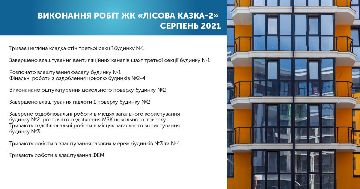 "PERFORMANCE OF WORKS RC ""LESNAYA SKAZKA-2"" AUGUST 2021"